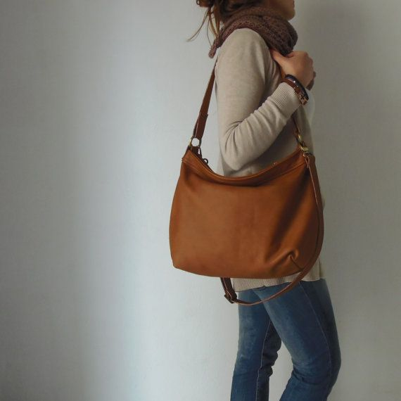 """Tan leather hobo bag Leather hobo purse Soft leather by Laroll  MEDIUM: top opening width : 12,8"""" ( 33cm) , total opening of the zipper : 15"""" ( 38.5 cm ) widest point of the bag laying flat : 16.3"""" (42cm) height : 10.5"""" (27cm) depth : 5.5"""" (14cm)"""