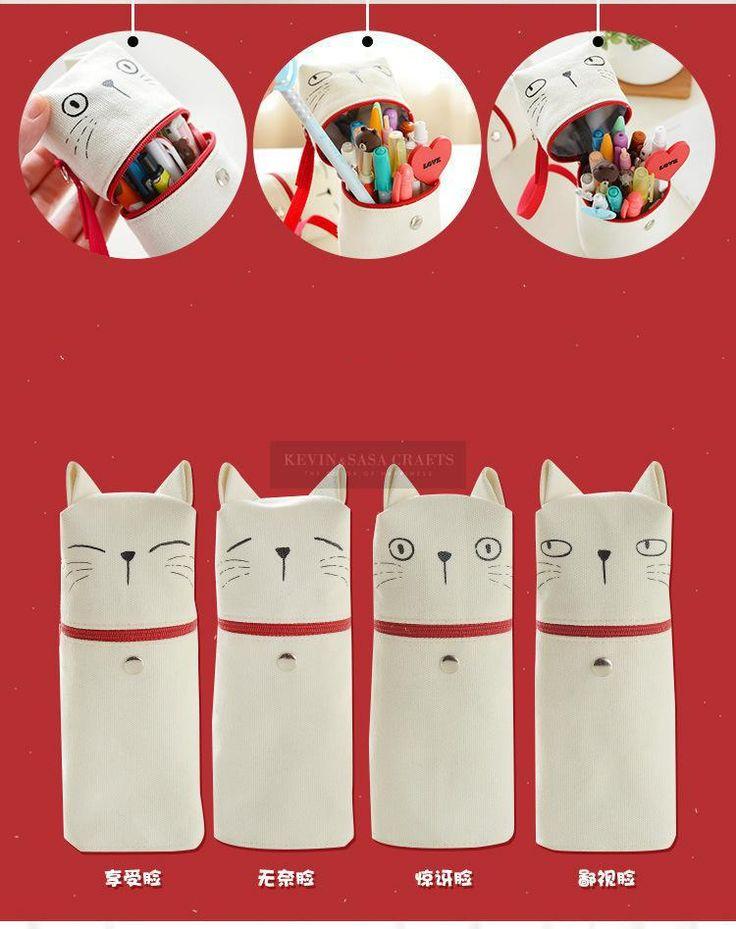 Кошка Пенал Супер Большой Ткань Kawaii Pencilcase Канцелярские Школьные Принадлежности Карандаши Хранения Bts Пеналы Школьные Принадлежности купить на AliExpress