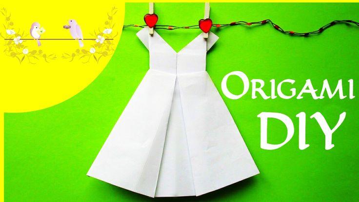 DIY Оригами ПЛАТЬЕ. Как сделать платье из бумаги   Origami How to Make a Paper Pretty Dress (Decor)