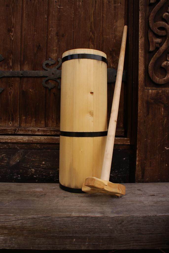 Spruce butter churn, made for use #Woodworking