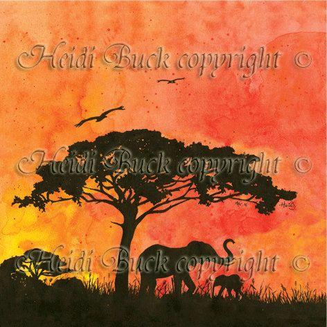 African Elephants Sunset Greetings Card