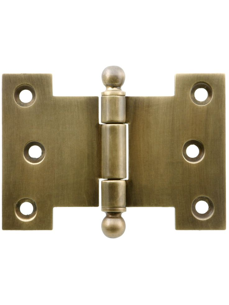 """Solid-Brass Parliament Hinge with Ball Tips in Antique-By-Hand - 2 1/2"""" by 4 1/2"""" 