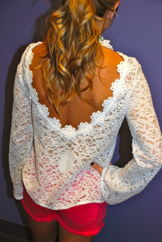 Backless and lace: Pink Shorts, Cute Tops, Lace Tops, Outfit, Hot Pink, White Lace, Lace Back, Lace Shirts, Open Back