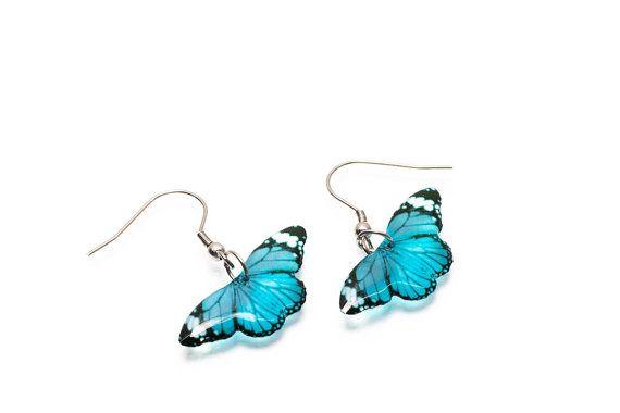 Tijger butterfly blauw kleine oorbellen, handgemaakt, uniek. In de doos van de gift. Gemaakt in het Verenigd Koninkrijk.