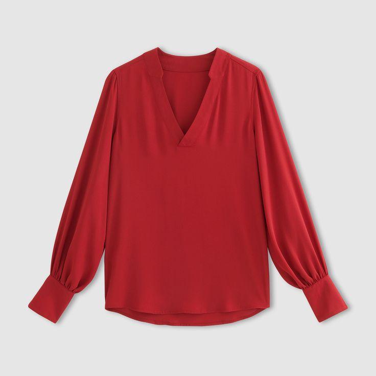 Bluzka, dekolt w serek, luźny rękaw z szerokim mankietem R Édition | La Redoute