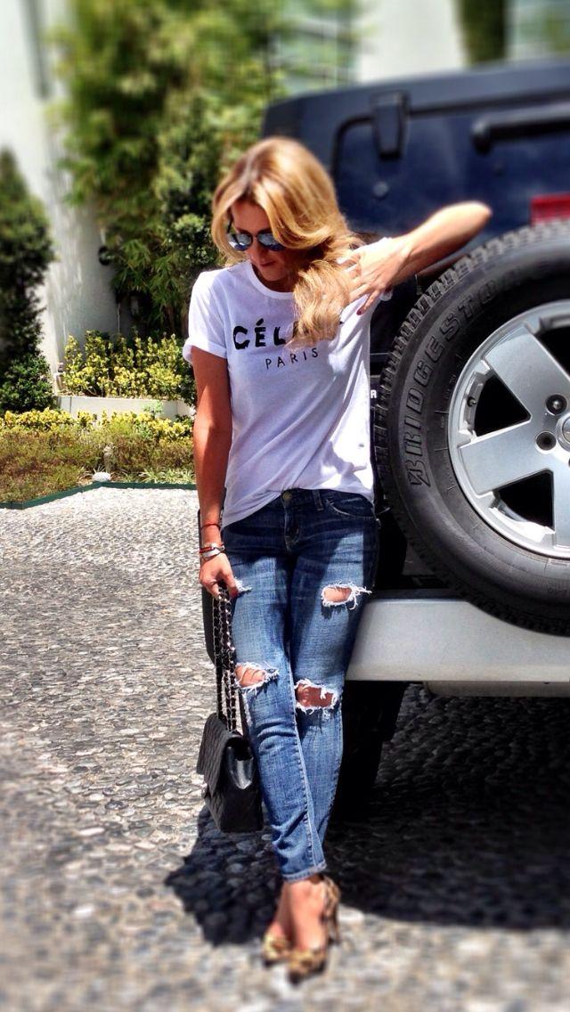 Celine tshirt + destructed denim