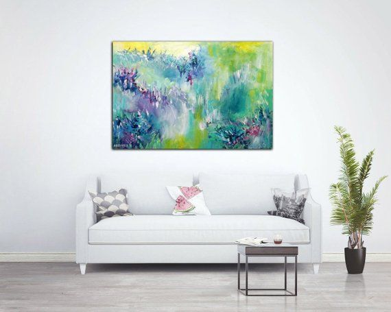 Horizontal Wall Art Abstract Art 36x24 Inches 60x90 Cm Spring Painting Original Acrylic Painting Re Horizontal Wall Art Home Decor Beautiful Wall Art