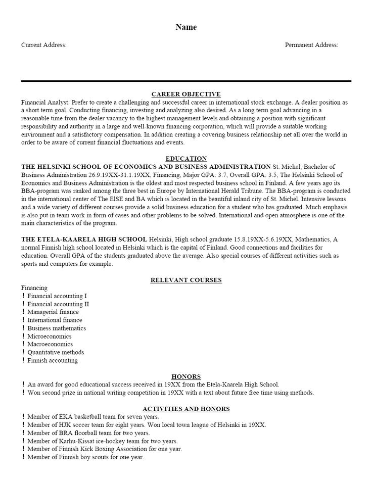 26 best Cover letters and resumes images on Pinterest Magnets - objective statement for finance resume