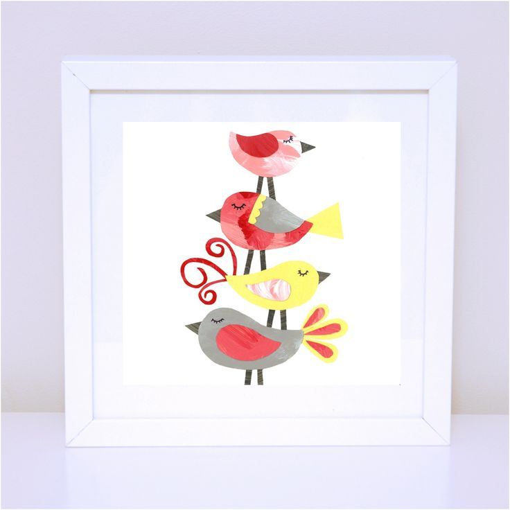 Pink Bird Stack print - available as small and medium prints (from $12). #birdwallart #birddecor #nurserydecor #nurserywallart #pinkbirdst #yellowbirds #girlswallart