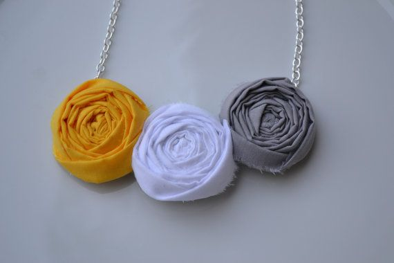 Trio of grey yellow and white rosette by laurenelainemoore on Etsy, $14.50
