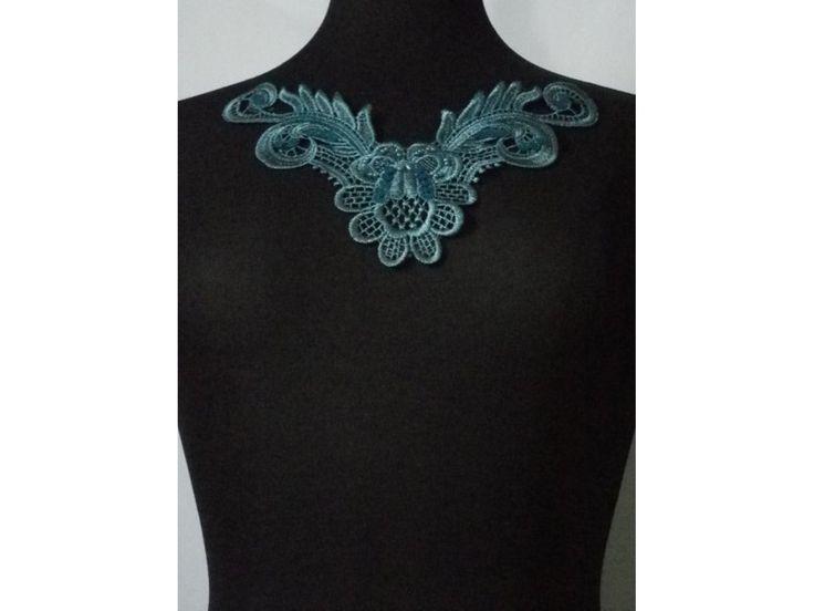 Peacock Blue Floral Lace Neck Piece