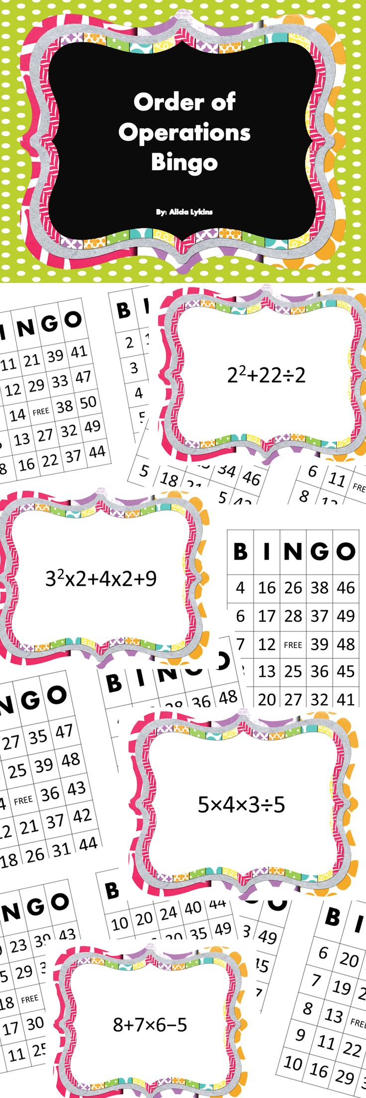 WOW!  50 order of operations expressions and 30 pre made bingo cards.  What I love about this is you can project the expressions up for the whole class so you can play all together as a group.  Or,  If you would rather, you can certainly print out the expressions and play at a center or small group.