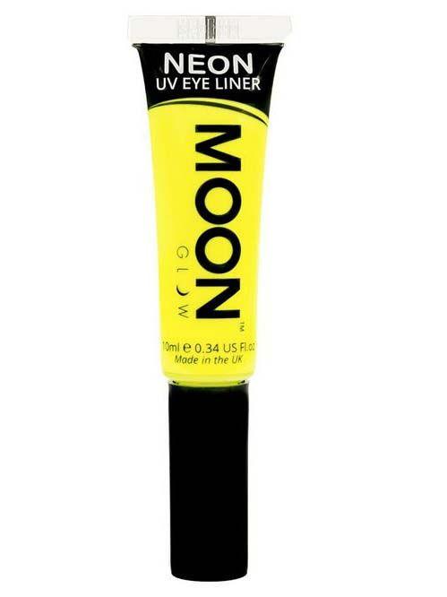Eyeliner amarillo fluorescente UV 10 ml Moonglow©: Este delineador de ojos de la marca Moonglow© es de color amarillo y brilla con luz ultravioleta.El tubo incluye 10 ml aprox.Con este maquillaje completarás tus disfraces originales.