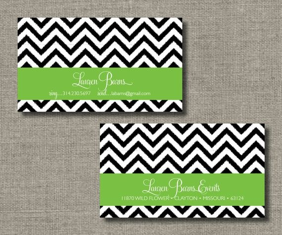 Chevron Ikat Calling Cards, Call Me Cards, Business Cards - Set of 100