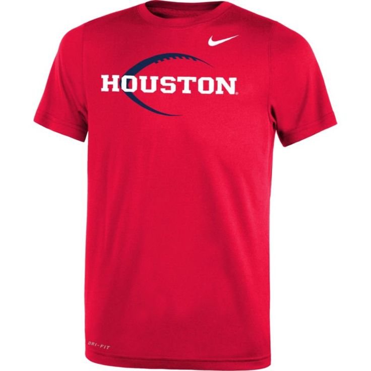 Nike Youth Houston Cougars Red Football Icon Legend T-Shirt, Size: Medium, Team