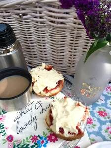Cream tea summer picnic ideas.  Pack up some scones, jam and clotted cream in your picnic hamper and head out to your favourite quiet spot to enjoy the sunshine one afternoon soon.  | uncalendared