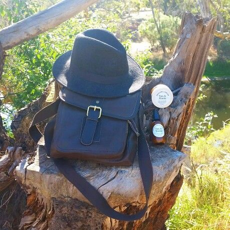 Tan&Black products with fedora and new leather bag