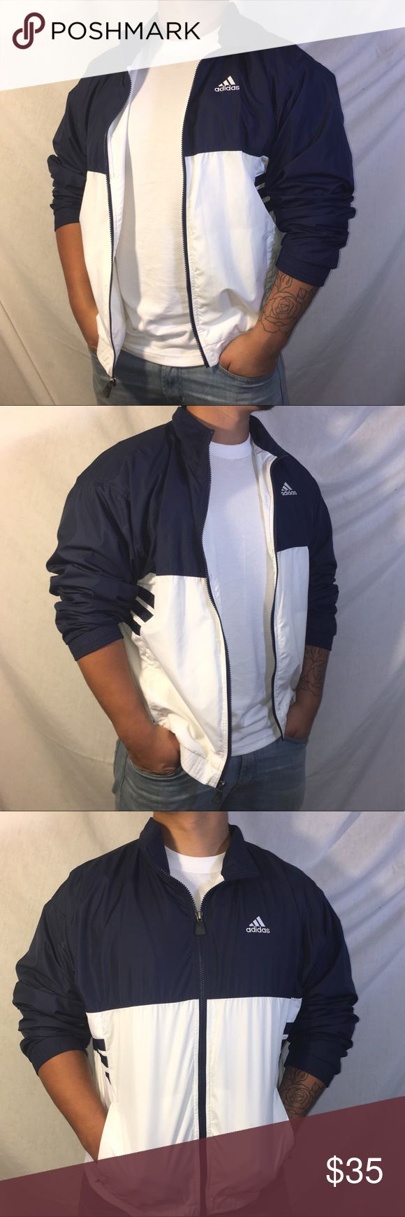 Vintage Adidas Zip Up Windbreaker Vintage Adidas blue and white striped zip up Windbreaker in really nice condition Adidas Jackets & Coats Windbreakers