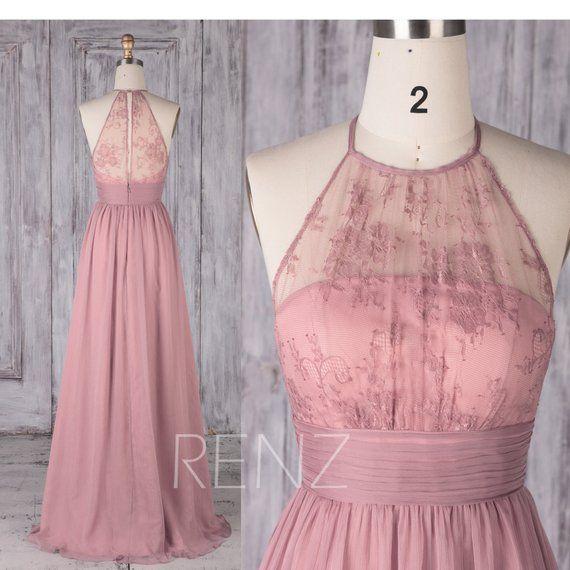 Bridesmaid Dress Dusty Rose Chiffon Dress Wedding Dress Illusion Halter Prom Dress Open Back Maxi Dress Sleeveless A-Line Party Dress(H516B)