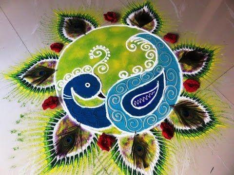 beautiful peacock rangoli/ peacock kolam/ peacock muggulu by rangolidesigns - YouTube
