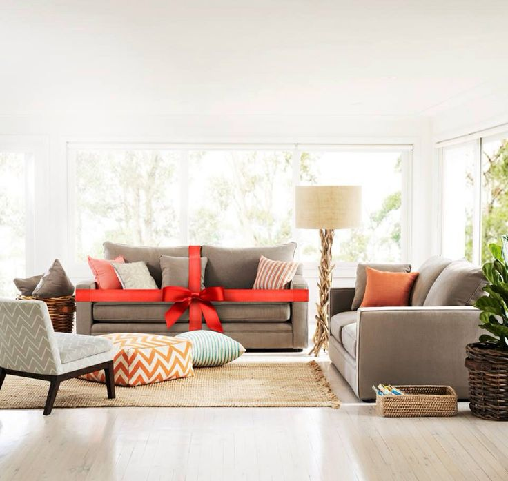 Freedom furniture Australia. Love the combination of greys, oranges & reds