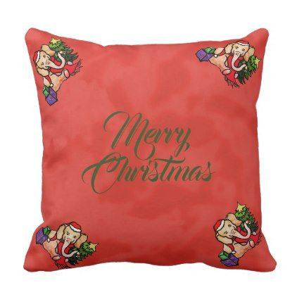 Festive Santa Cartoon Merry Christmas Elephants Throw Pillow - merry christmas diy xmas present gift idea family holidays