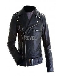 BIG SALE - Custom Designer made Belted Black Leather Motorcycle Jacket For Men Save $100 Was $265.00 Now only $165.00
