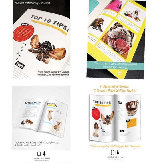"""Dog Photography Magazine Template: Customizable Template - Instant Download - Magazine Titled """"Haute Dog"""" includes Article and Pages for Ad #magazinetemplates #photographerwelcomeguides"""