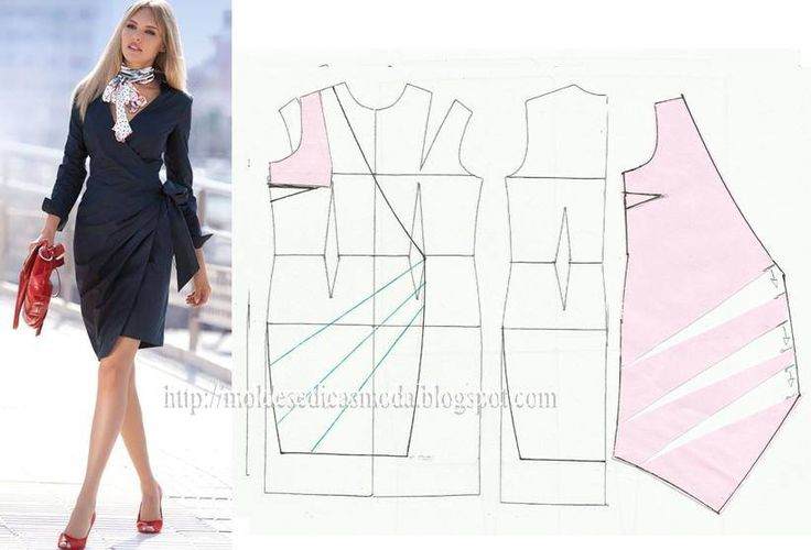 Illustration showing how to alter a standard dress pattern to create this pleated wrap dress
