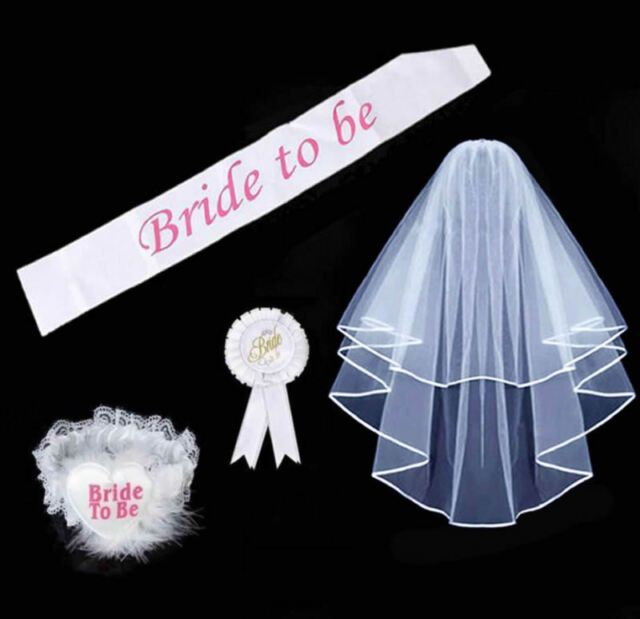 Bride To Be Garter White With Lace Hen Night Party Accessories Hen party FREE PP