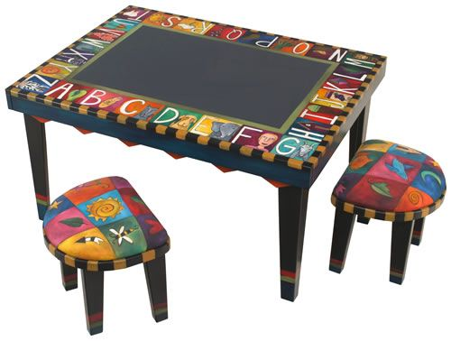 Hand Painted And Crafted Table U0026 Stools From Sticks, Inc..