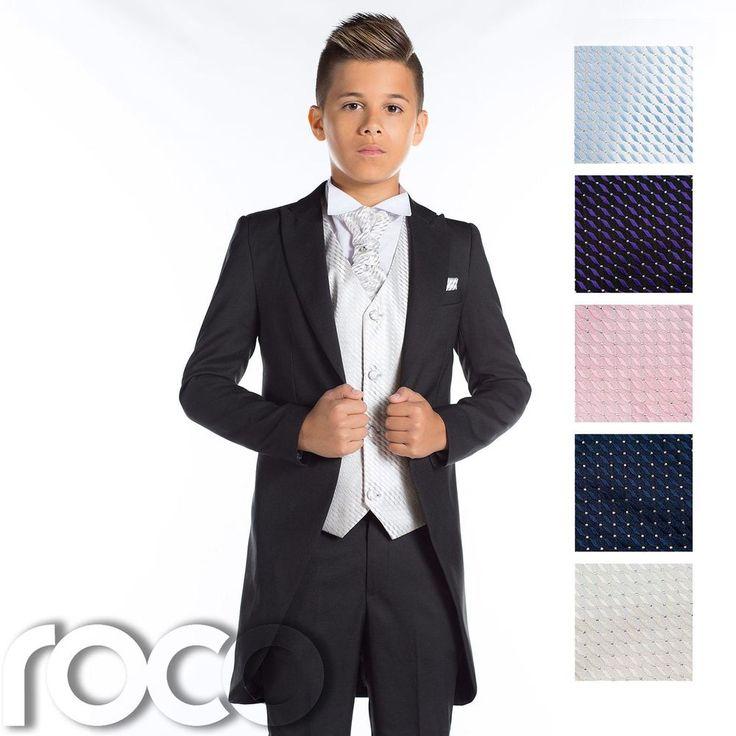 Boys Black Morning Suit, Tail Suit, Page Boys Suits, Black Wedding Suit