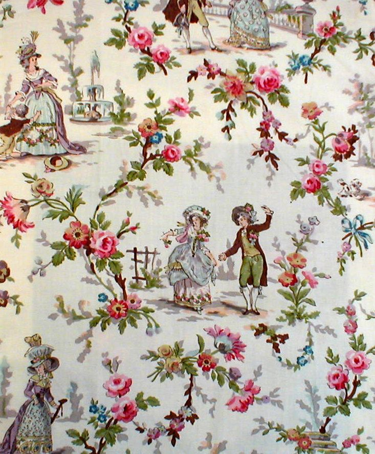 Lovely toile print from early 20th century wallpaper; design from Japan #vintage #toile #wallpaper