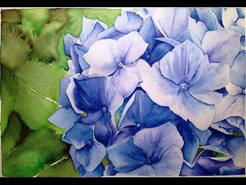 Watercolor Hydrangeas on COLD Pressed Painting Demonstration - YouTube