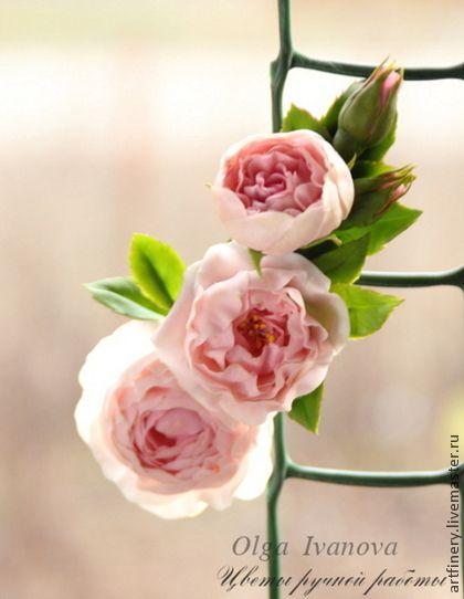 Заколка-автомат с английской розой - розовый,английская роза,роза,заколка-автомат