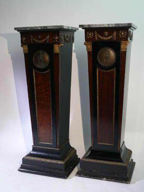 Empire style buu walnut and ebony pedestal, ormolu…