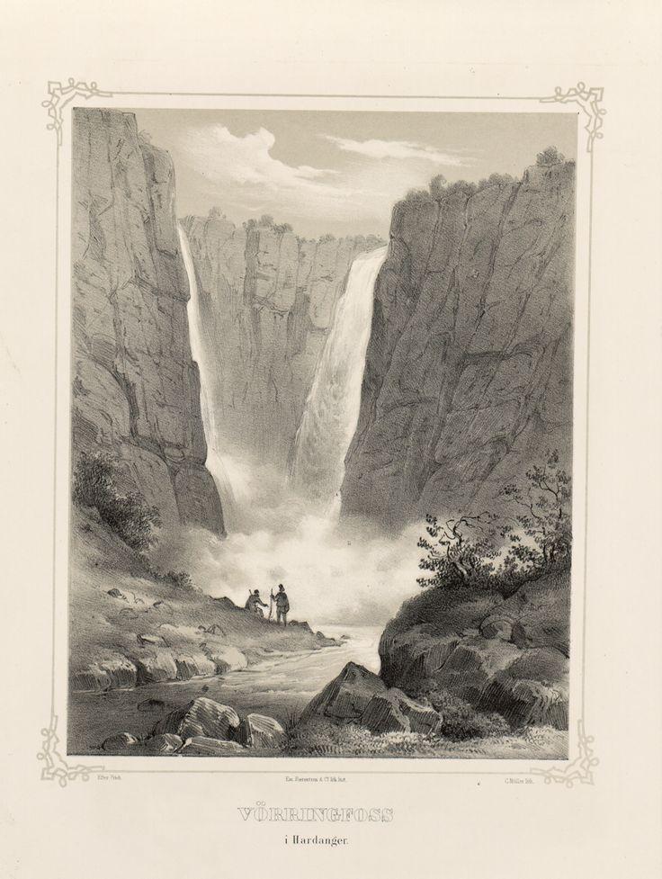 Norge fremstillet i Tegninger - Joachim Frich - Vörringfoss i Hardanger.  jpg (3688×4896)
