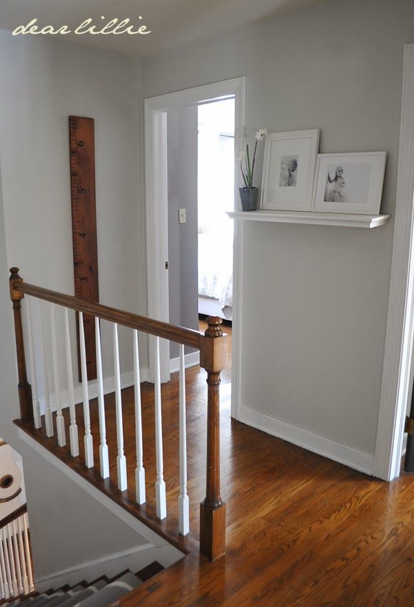 Upstairs Hallway by Dear Lillie grey Moonshine in matte from Benjamin Moore with Simply White BM semi-gloss trim