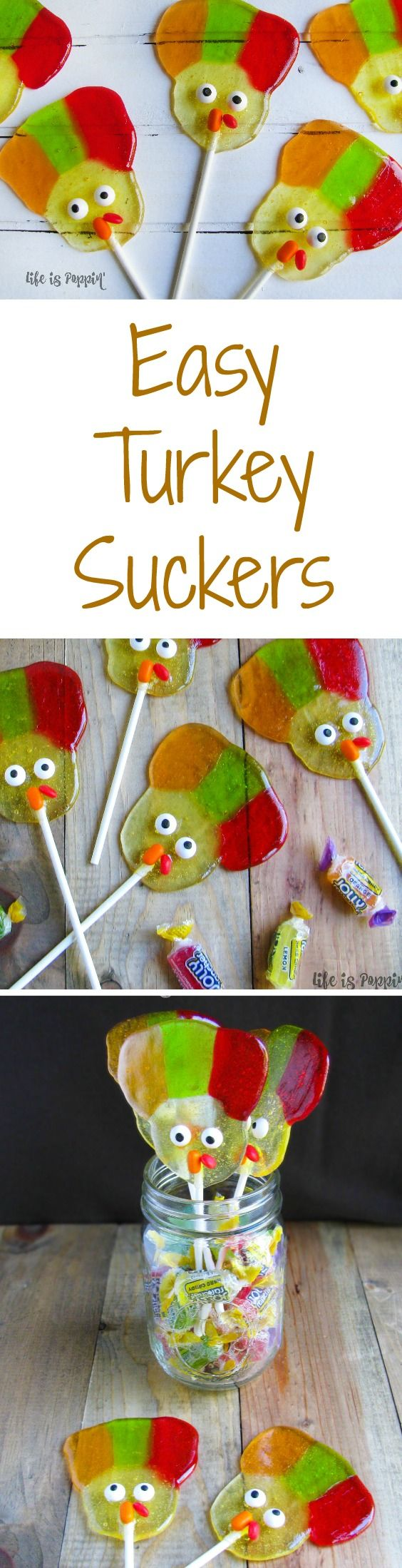How cute are these easy turkey suckers! They are so unique and would make a great addition to your next thanksgiving party, a treat for kids to take to school or a way to surprise your coworkers.