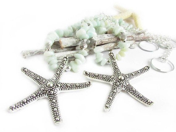 These curtain tiebacks have a center focal starfish and feature small amazonite stone nuggets. There are small silver fish and shell charms for added beach inspiration. A pair of starfish tiebacks which will add beauty to your shabby chic decor. These add a beautiful shabby chic