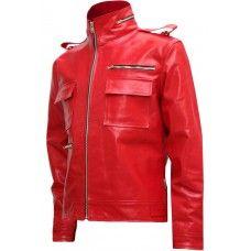 Soft Biker Red Leather Jacket Men - Avonmore