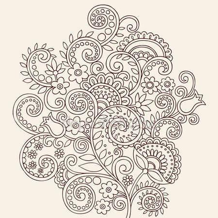 Скачать - Рисованной цветов и виноградной лозы абстрактные хны менди Пейсли цветочные тату каракули - векторные иллюстрации дизайн элементы — стоковая иллюстрация #8248640