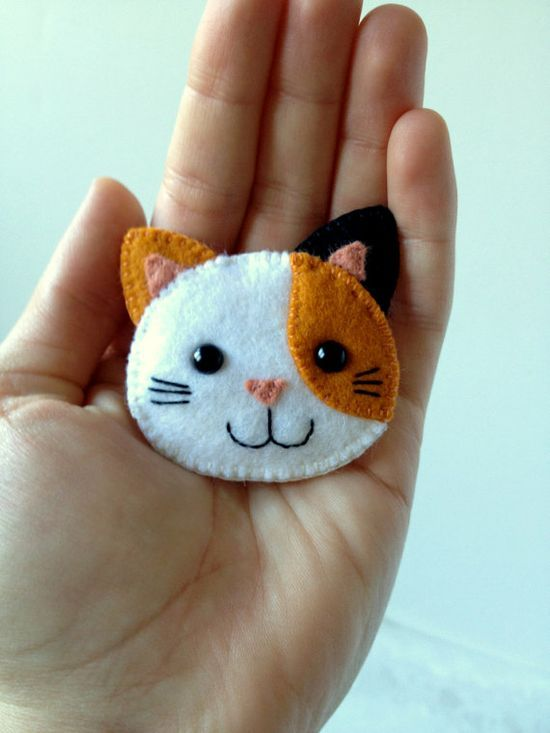 Calico Cat Brooch Felt Kawaii Kitty Kitten Pin Feline Orange Black White Made to…