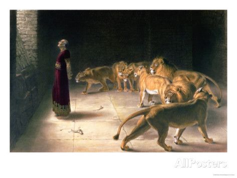 Daniel in the Lions Den, Mezzotint by J. B. Pratt, with Hand Colouring Giclee Print by Briton Rivière at AllPosters.com