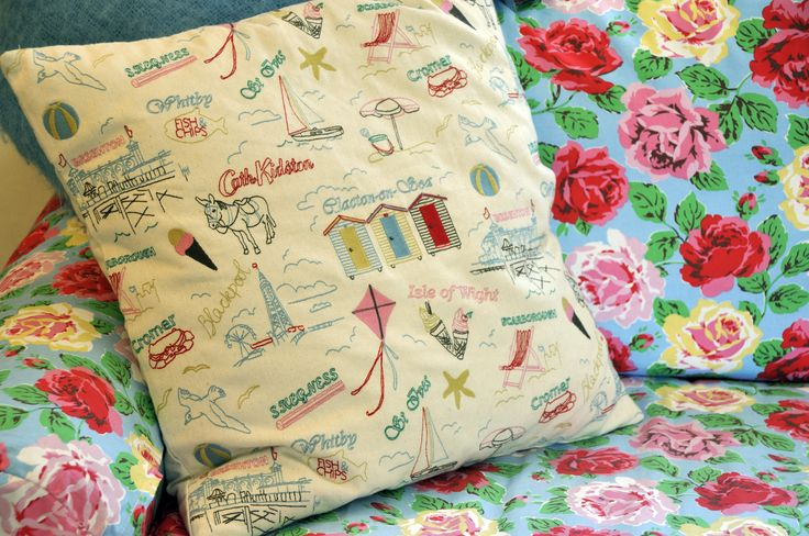 Cath Kidston British seaside cushion in two chapel lane's sitting room