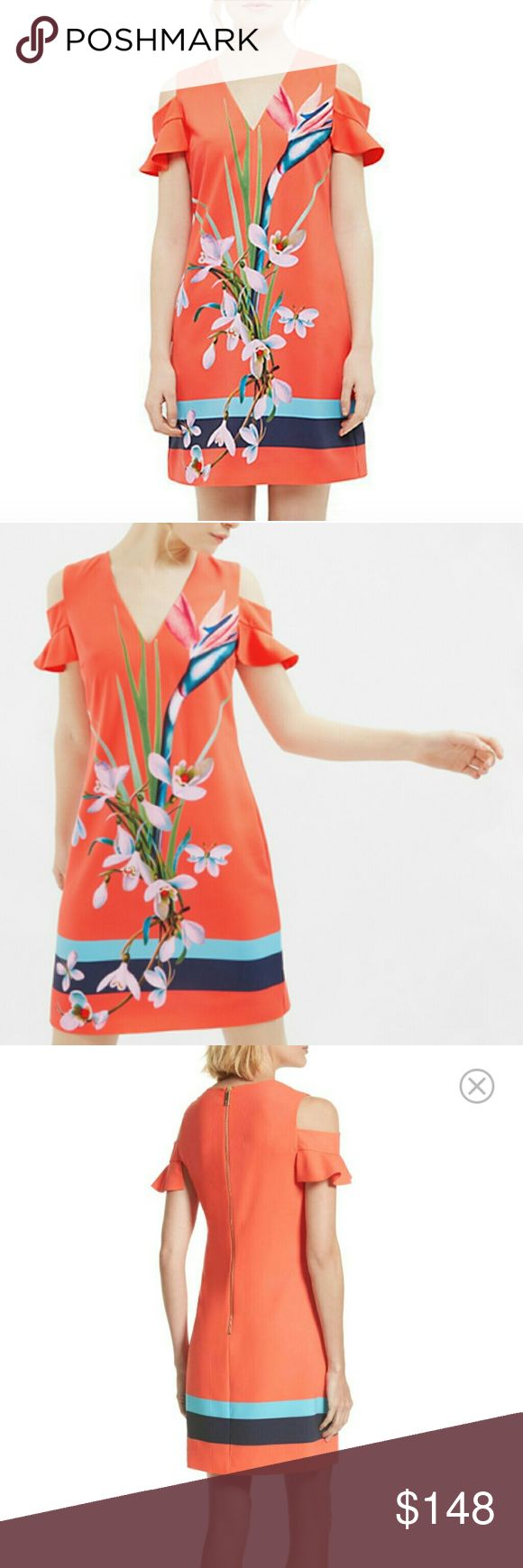 New NWOT Ted Baker Orange Birds of Paradise Dress Really pretty fun dress from Ted baker. This dress is perfect for any summer occasion. Zip up back.   Brand New without tags. Tags were removed to prevent returns. TB size 1 is a US size 4 Ted Baker Dresses