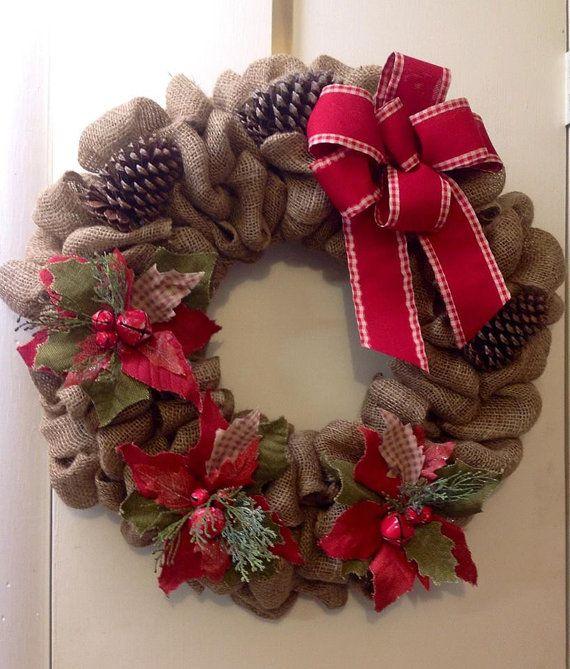 Burlap Christmas Wreath by TammysFlowersandmore on Etsy, $65.00