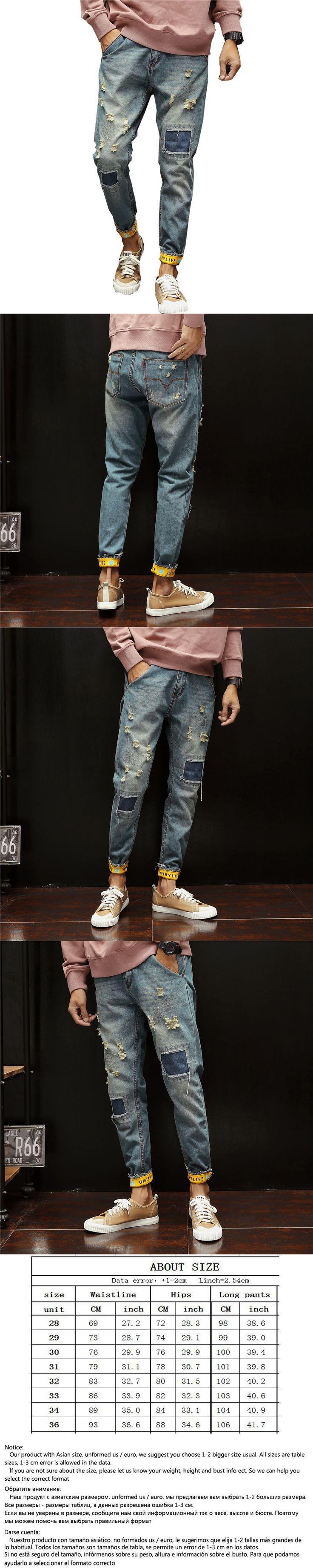 Size 28-36 Slim Fit Ripped Hole Harem Jeans Men'S Oversized Light Blue Length Hip-Hop