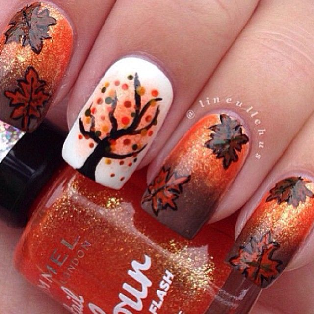 Friend wants a bare tree on her nail. I need to learn to do that next... Autumn Leaves & Trees Nail Art Idea