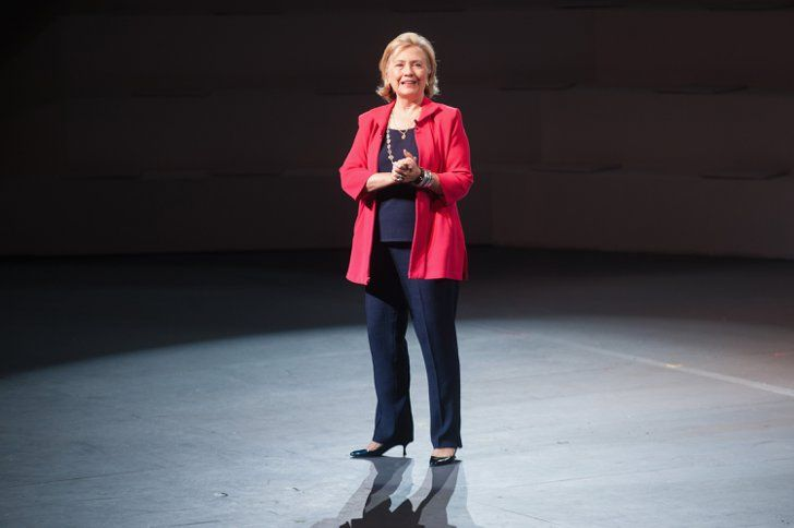 Pin for Later: An Homage to the Many Pantsuits of Hillary Clinton Statement Jacket The lesson here? Sometimes all you need are a bright jacket and a few accessories to give a basic look a bit more oomph.